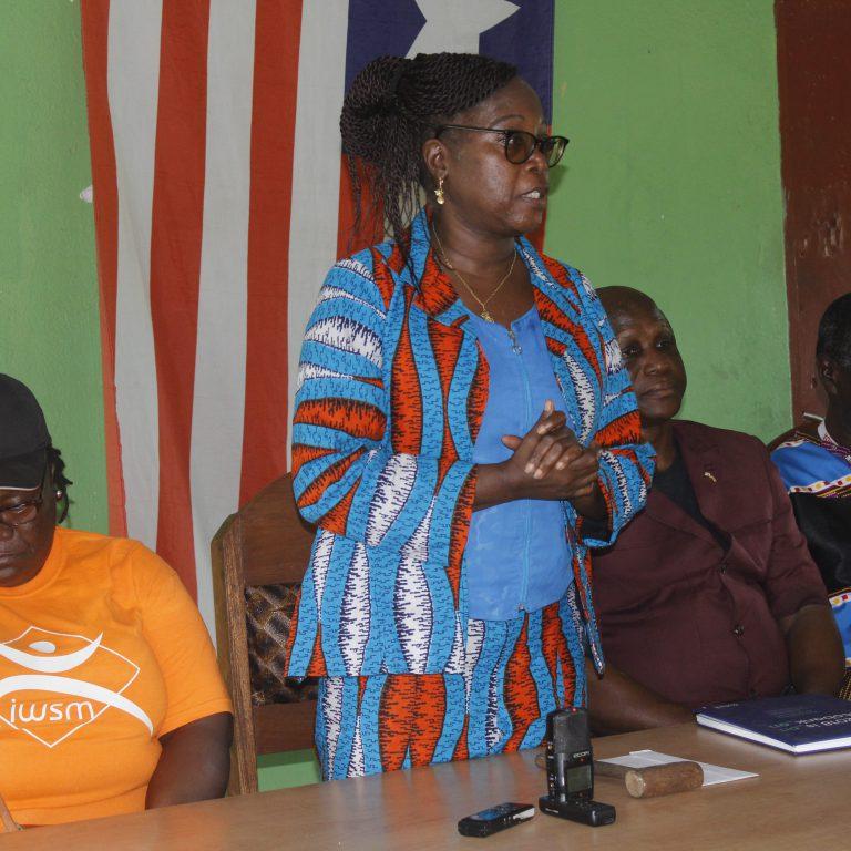 Health Minister, Wilhelmina Jallah speaking to elders of Bomi County
